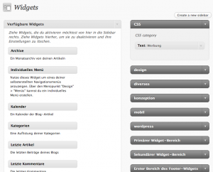 Widgets Auswahl - Custom Sidebars WordPress Plugin