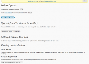 Articles WordPress Plugin Einstellungen