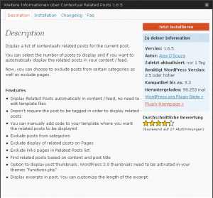 Infofenster des Contextual Related Posts Plugin
